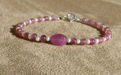 Tourmaline Bracelet, Ruby Pearl, Gemstone Bracelet, Pink Bracelet, Smooth Tourmaline, Tourmaline Pearl Bracelet by ThreeMagicGenies on Etsy