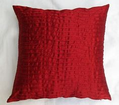 red pintuck artsilk throw pillow 26inch decorative cushion cover modern design 2 in stock