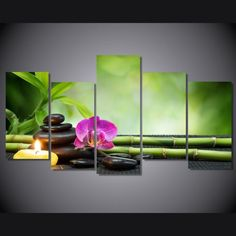 5 Pieces Multi Panel Modern Home Decor Framed Tranquility Spa Meditation Wall Canvas Art