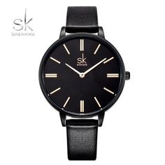 Shengke Woman Watches Luxury Brand Quartz Watches Ladies Watch Women Fashion Wristwatch Leather Girl Watch Relogio Feminino From Touchy Style Outfit Accessories ( black ) Cheap Watches For Men, Fossil Watches, Fashion Watches, Men Fashion, Simple Jewelry, Luxury Branding, Woman Watches, Black Watches, Watch Women