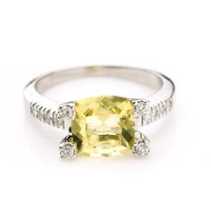14K White Gold 2.0 CTTW Lemon Yellow Citrine & Diamond Ring $300.00