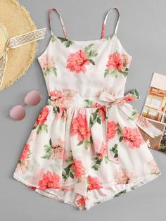 Cut Out Back Floral Cami RomperFor Women-romwe Source by deesstinee outfits elegant Girls Fashion Clothes, Teen Fashion Outfits, Cute Fashion, Outfits For Teens, Girl Outfits, Fashion Styles, Cute Summer Outfits, Cute Casual Outfits, Pretty Outfits