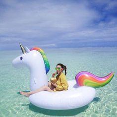 Riesiges aufblasbares Einhorn Schwimmbett Schwimmen Luftmatratze Pool Unicorn