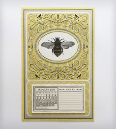 2014 Letterpress Calendar – Honeybee | Gifts Cards & Stationery | Hammerpress | Scoutmob Shoppe | Product Detail