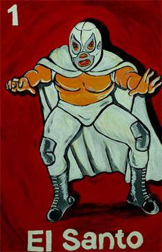 "Xavier Garza El Santo (The Saint)  2003 Acrylic on Masonite 28.25"" x 19.25"""