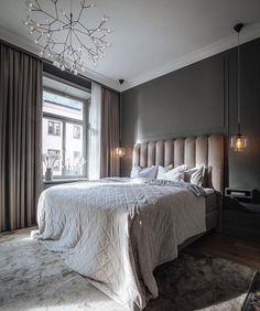 Bedroom Inspo, Home Decor Bedroom, Living Room Decor, Master Bedroom, Bedroom Curtains, Apartment Interior, Room Interior, Interior Design, Home Decoracion