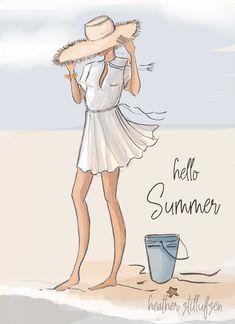 Hello Summer by Heather Stillufsen Dog Smile, Illustrations, Illustration Art, Megan Hess, Hello Weekend, Summer Quotes, Months In A Year, Seasons Months, Beach Art