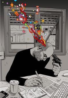 drawing art trippy Black and White depressed depression sad suicide design Sketch