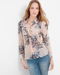 Cotton and Silk-Blend Pink Floral Shirt