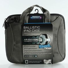 Just Air Shock Proof Ballistic Ipad Case - Gray by Just Air. $27.95. The Just Air Ballistic Ipad Case is designed to fit Apple iPad & iPad2. Air cushion protection system. Hideaway handles, zipper compartment, velcro easy-access pocket, and detachable & adjustable messenger strap. Water Resistant. Absorbs shock. Features: Air Cushion technology, Anti-shock, durable inner layer, extra cushioning along side edges, and interior fully lined with smooth nylon pack cloth. Outer Laye...
