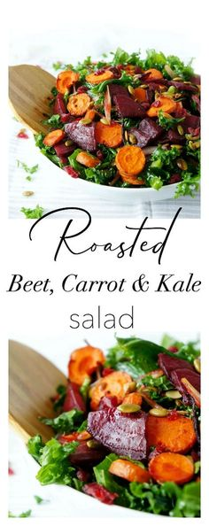 This gluten-free and vegan Roasted Beet & Carrot Kale Salad is not only pretty to look at, it& also bursting with flavour and nutrients! The perfect salad for entertaining during the holidays! Healthy Salad Recipes, Whole Food Recipes, Vegetarian Recipes, Cooking Recipes, Roasted Kale Recipes, Beet Recipes Healthy, Roasted Beets Recipe, Carrot Salad Recipes, Vegan Meals