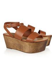Elizabeth and JamesBax leather and wood platform sandals