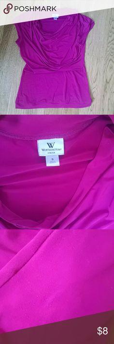 Worthington bright pink cowl neck shirt Vguc! Dark/raspberry pink cowl neck, cross draped top. Some pilling on left side. Worthington Tops Tees - Short Sleeve