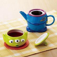 Disney Pixar Little Green Men Alien Teapot Tea Cup Set Toy Story New