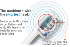 Emmi-dent... uses 100 percent ultrasound, harmless waves that reach as far as inside your gum pockets to wipe away plaque and bacteria.
