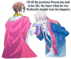 "PruAus Headcanons - The Teutonic Knights [""Prussia""] served royalty..."
