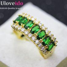 Nuevos Anillos De Boda para Las Mujeres Niñas Regalo Anillo Cubic Zirconia Jewelry Crystal Anéis Femininos Vendimia Verde Piedra Rubí Joyería J501(China (Mainland))