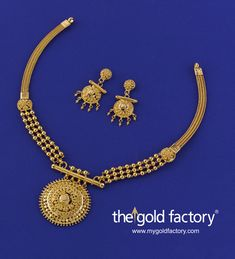 A three-step pasha pendant on a pipe hanger supported by triple ball chains that morph into a plain heley chain after the flower sidepiece on each side, that's how carefully detailed this lovely lightweight necklace is. Distinctly Gold Factory in its design ethic, it comes with a pair of matching mini earrings, all handcrafted in hallmarked 22K gold. Necklace: 22 gm, price Rs.64,500/- Earring: 5 gm, price Rs. 14,700/-