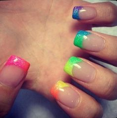 French Nails But With The Color Of Rainbow Manicure By: Love Nails, How To Do Nails, My Nails, Neon Nails, Pretty Nails, Glitter Nails, Sparkly Nails, Gradient Nails, Neon Nail Art