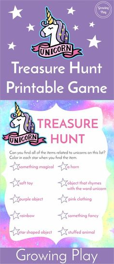 Unicorn Treasure Hunt Game FREE Printable – Growing Play Unicorn Treasure Hunt Game – FREE printable to send kids on their very own unicorn scavenger hunt. Great for parties or independent play! Rainbow Unicorn Party, Unicorn Themed Birthday Party, Unicorn Birthday Parties, Birthday Ideas, 5th Birthday, Girls Birthday Party Games, Diy Unicorn Party, Unicorn Birthday Invitations, Princess Birthday