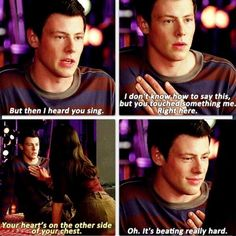 Glee - Finn & Rachel or ! Glee Memes, Glee Quotes, Tv Show Quotes, Rachel And Finn, Lea And Cory, Glee Season 1, Finn Glee, Glee Cory Monteith, Finn Hudson
