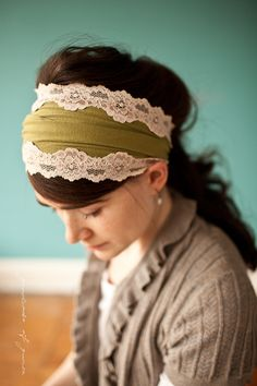 Vintage Stretch in Rustic Green - Garlands of Grace Something special headband 2012. $22.00, via Etsy.