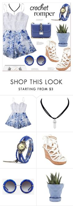 """""""Crochet romper"""" by mycherryblossom ❤ liked on Polyvore featuring GUESS, Dolce&Gabbana, Chive and MAC Cosmetics"""