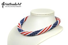 USA Flag Necklace American Flag Necklace Patriotic Necklace flag jewelry usa gift for her July bead jewelry Patriotic jewelry for her Bead Crochet, Crochet Necklace, Beaded Necklace, Necklaces, Jewelry For Her, Women Jewelry, 4th Of July Outfits, American Flag, Love To Shop