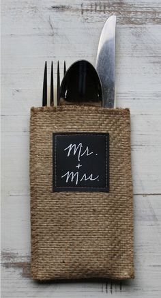 This pouch doubles as a place card when labeled with each guest's name. - Philadelphia Magazine of Cutlery Couture