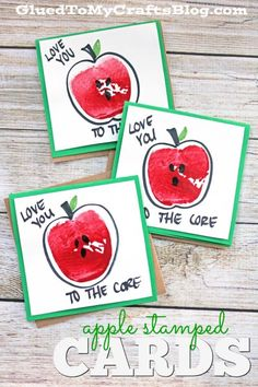 "Apple Stamped ""Love You To The Core"" Cards"
