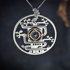 #MayanWorldTree Pendant Silver And Gold. Ancient Symbol of the universe and the #CosmicAwareness.  The World Tree, is a very widespread motif in the pre-columbean Americas. It appears often in Creation myths, in the ancient cosmology and as an important iconographic element in the artwork of varied cultures across America. The use of the tree as a cosmic symbol exists on a wide and diverse scale in cultures from the Viking World Tree (#Yggdrasil) - as well as in the Jewish Tree of…