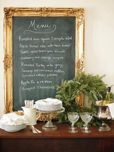 Definitely creating a chalkboard with my giant vintage gold frame.deep teal paint with grout powder to make the chalkboard. Menu On Gold Leafed Chalkboard Do It Yourself Design, Framed Chalkboard, Blackboard Menu, Chalk Menu, Chalkboard Ideas, Kitchen Blackboard, Black Chalkboard, Festa Party, Decoration Table