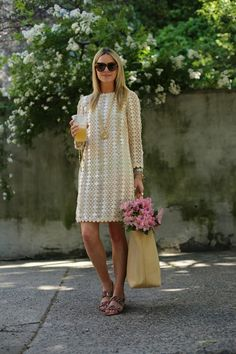 lace shift dress with sandals