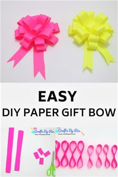 Make beautiful paper bows by yourself with this easy method. A fun paper craft idea for kids and adults. Perfect for preschoolers and school aged kids. Diy gift topper. #giftbow #paperbow
