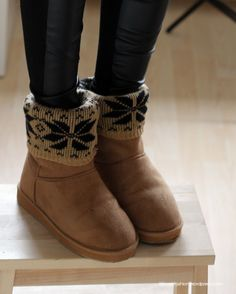 DIY Fashion - Dress up your boots, fold over patterned socks.