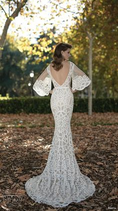 BERTA fall 2016 bridal half bell sleeves bateau neckline sheath wedding dress open low back / http://www.deerpearlflowers.com/wedding-dresses-with-flutter-sleeves/