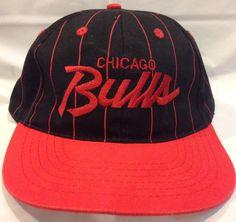 ac3ffa48123 Vintage Chicago Bulls Pinstripe Script Snapback Hat