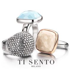 One that sparkles just like the sun, a blue beauty or a rosegold plated ring. Find these rings at a Ti Sento store near you!  #jewellery #fingercandy #rings #threeofakind
