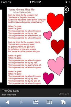 The cup song lyrics! I can do the cup song! Me Too Lyrics, Music Lyrics, Music Songs, Everything Lyrics, My First Teacher, Valentine Songs, Cup Song, Song Words, Manualidades