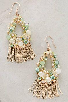 at anthropologie Fringed Wreath Earrings Bohemian Jewelry, Wire Jewelry, Jewelry Crafts, Bridal Jewelry, Beaded Jewelry, Jewellery, Ideas Joyería, Jewelry Accessories, Jewelry Design