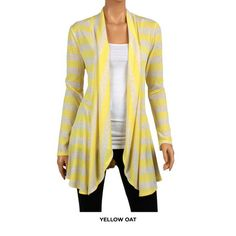 Striped Drape-Front Hacci-Knit Cardigan - Assorted Colors at 78% Savings off Retail!