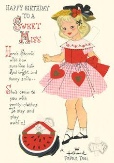 Sherrie paper doll card; Hallmark, 50s