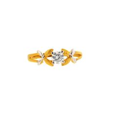 18K Yellow Gold with American Diamond Criss Cross Leaf Ring