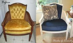 Shades of Serenity: Cane Chair Makeover - Reveal