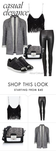 Casual Elegance by emanuelagolemme on Polyvore featuring moda, Zara, Topshop, The Row, adidas Originals and Karl Lagerfeld
