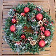 The Wreath Depot Whitehall Decorated Christmas Wreath, 22 Inch, Full Christmas Wreath Design, Beautiful White Gift Box Outdoor Christmas Wreaths, Artificial Christmas Wreaths, Holiday Wreaths, Christmas Home, Christmas Decorations, Holiday Decor, Halloween Party Supplies, White Gift Boxes, Front Door Decor