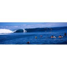 Surfers in the sea Tahiti French Polynesia Canvas Art - Panoramic Images (27 x 9)