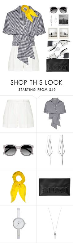 """""""Gingham Top  & Shorts!"""" by prettynposh2 ❤ liked on Polyvore featuring Elie Saab, Michael Kors, Alexander Wang, Ace, Diane Kordas, Hermès, Polaroid, Meggie, Gucci and DKNY"""