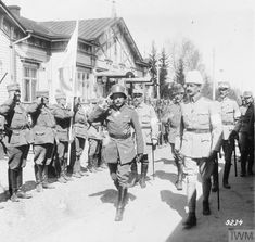General Colmar von der Goltz, the Commander of the German Composite Division in Finland, at the Headquarters of General Carl Mannerheim, the Commander of the Finnish White Army, at St. Michel (Mikkeli), May 1918.
