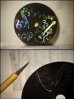 Make scratchboard out of an old CD.    Paint CD with 3-4 coats of matte black acrylic paint.  shade piece of paper with pencil as shown.  Place paper pencil side down onto painted CD.  Next place pic of your design on top and trace firmly.  This will transfer the image onto the paint as shown. Slowly scratch out your design with a scratch knife, or in this case, a clay tool